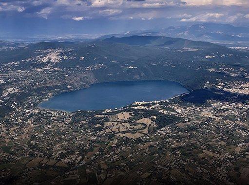 Panoramic view of Albano lake (Castel Gandolfo, Rome)