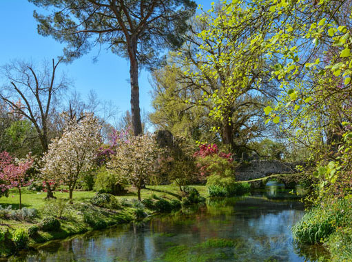 Garden of Ninfa and river Ninfa