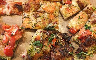 Mixed flavour pieces of pizza