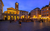 Piazza Santa Maria in Trastevere on a summer evening